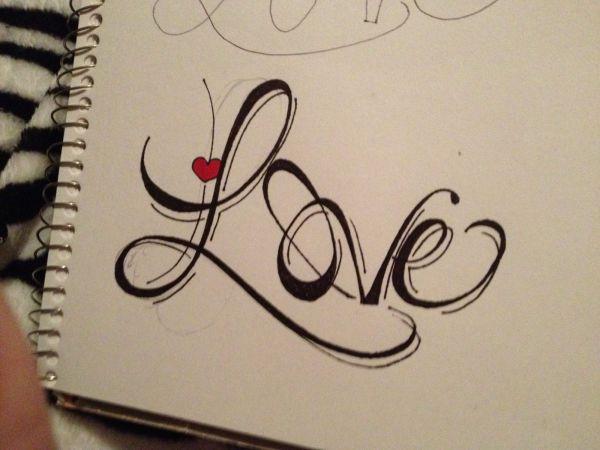 "Tattoo Drawing Of ""love"" Love"