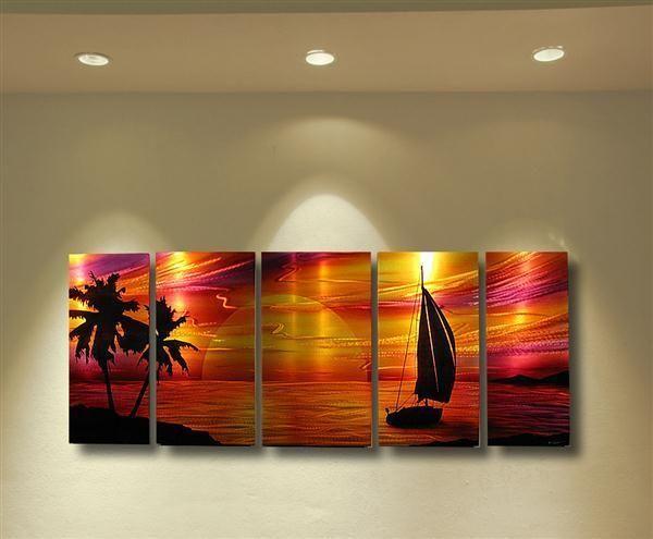 Abstract metal wall art painting sculpture tropical beach modern contemporary ebay also rh pinterest