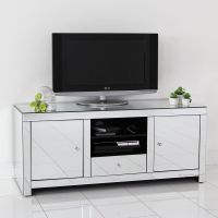 Mirrored TV Stand Glass Cabinet Contemporary Decor Vintage ...