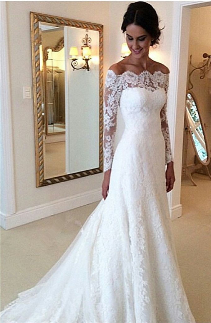 White Offtheshoulder Lace Long Sleeve Bridal Gowns Cheap