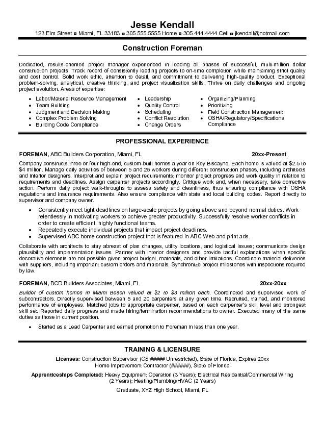 Resume Templates For Construction Foreman Google Search