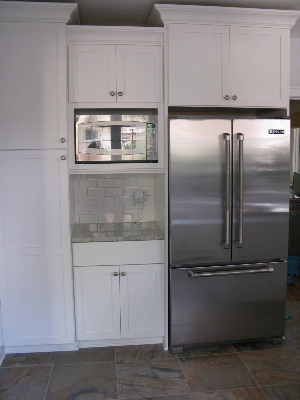 Microwave in upper cabinet  Kitchen wall removalremodel