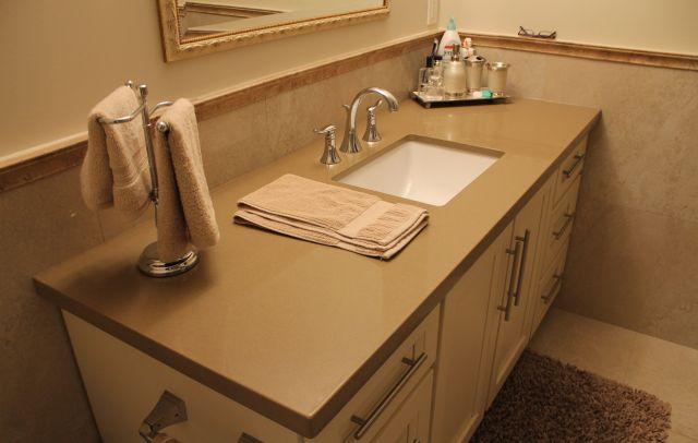 Caesarstone man made quartz vanity top in Mocha colour