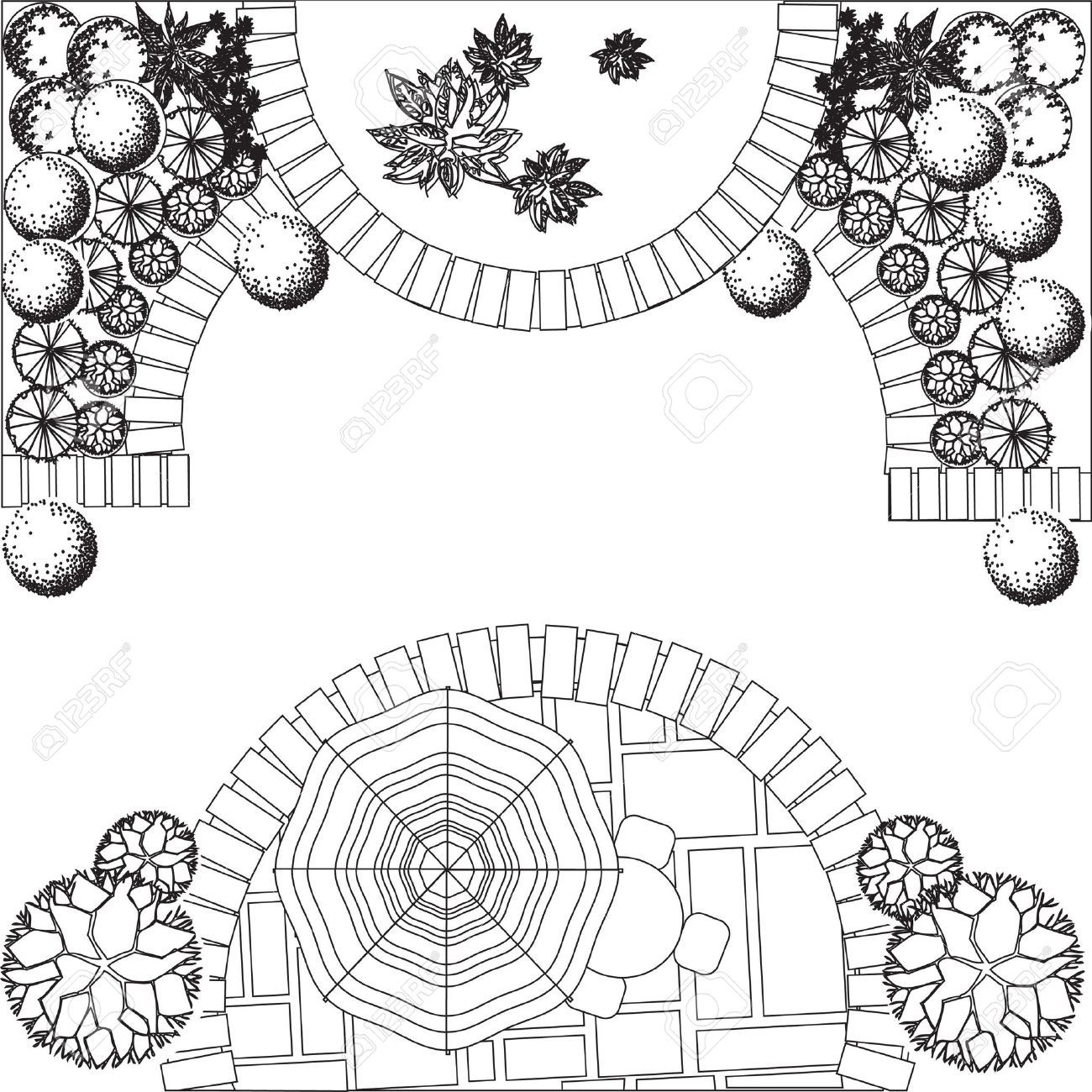 Plan Of Garden With Plant Symbols Stock Vector