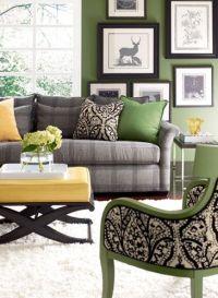 Hmmm! love the grey, green, black for living room color ...
