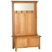 Vancouver Oak Petite Storage Unit with Coat Racks & Mirror ...