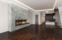 custom linear gas fireplace with culcatta marble   Modern ...