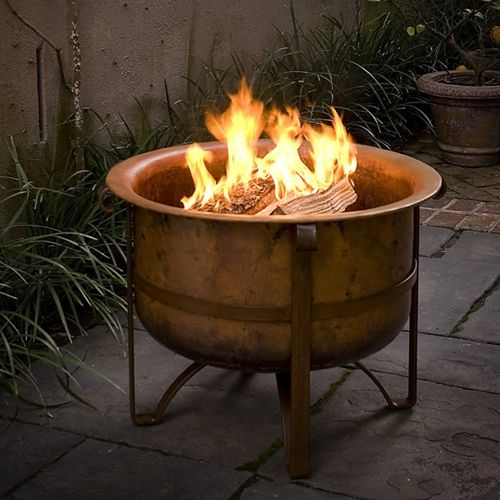 Patio Gas Fireplace Table 31 Rustic Fire Pit (acadia)- Solid Copper - Made In Turkey