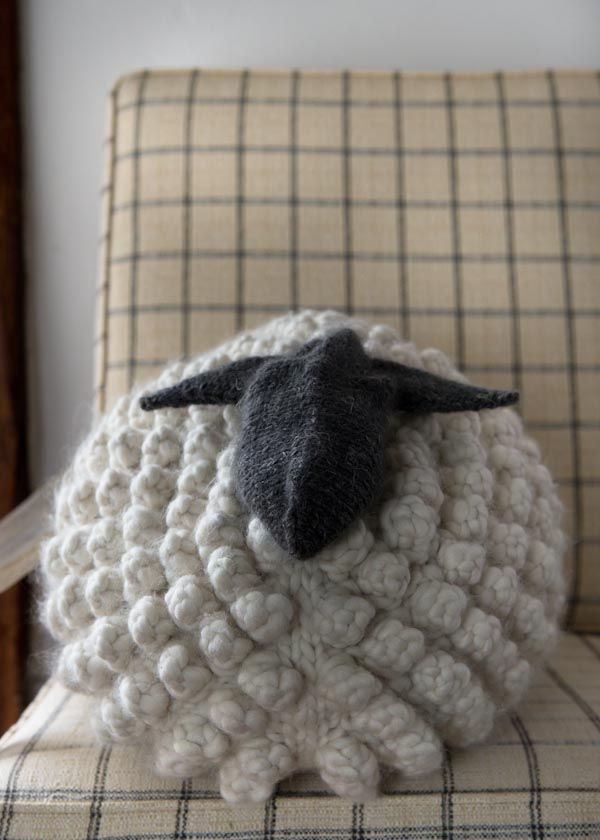 Bobble Sheep Pillow Knitting Pattern in Gentle Giant from