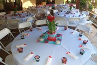 Table settings at the baby shower. We handmade the ...