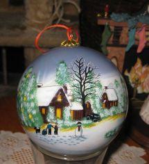 Li Bien Reverse Painted Glass Ornament- Winter Scene