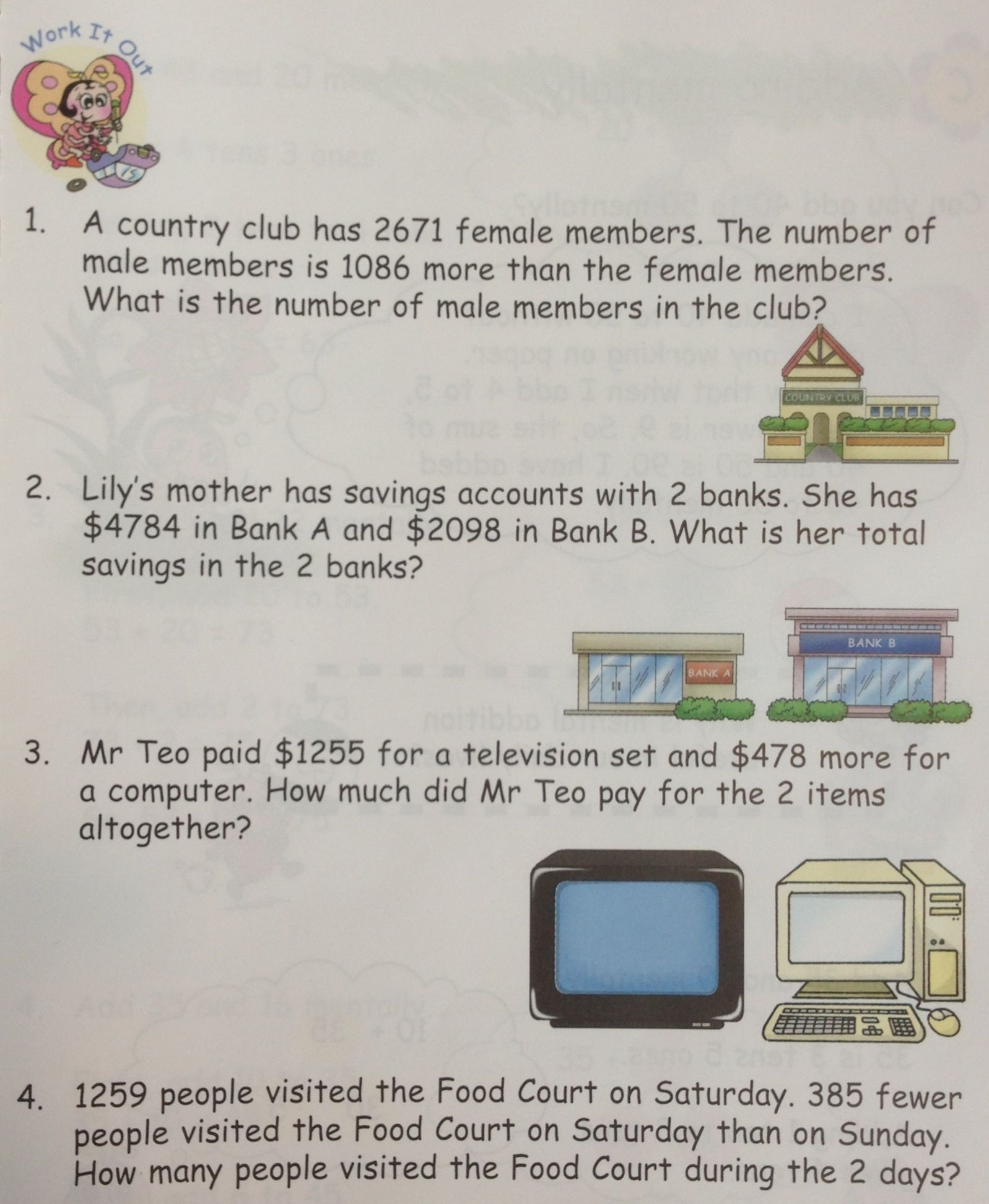 Some Word Problems On Addition Taken From In Step Maths 3a Singapore Math