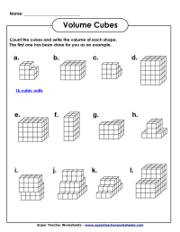 Volume Geometry with Cubic Units (PDF) | Math Worksheets ...