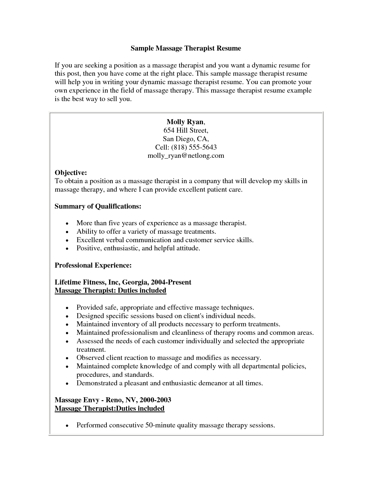 Therapist Resume Examples Massage Therapist Resume Sample Massage Therapist Resume
