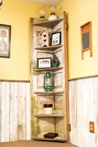 A old door made into a rustic corner shelf for my kitchen ...