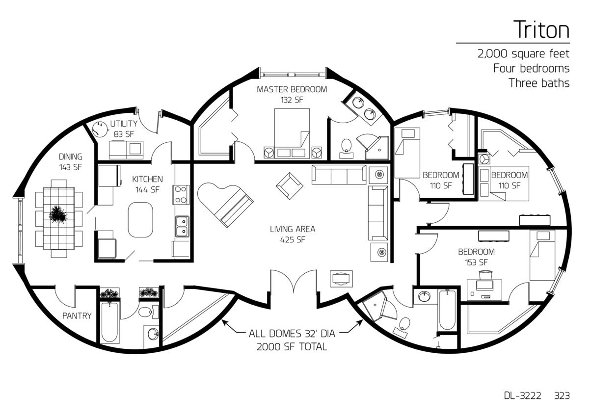 2 000 Square Feet Four Bedrooms Three Baths Floor Plan Dl