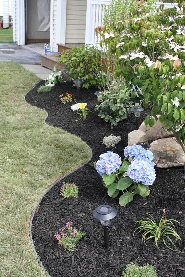 front yard curved beds landscaping