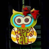 Fall Wreath, Door Hanger: Fall, Autumn Owl Door Decoration ...