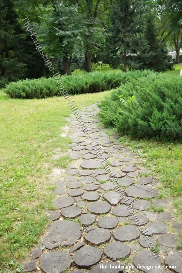 Log Rounds Turned Into Garden Pavers And Pathways YES
