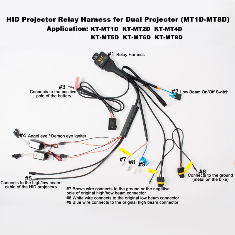 hid kit wiring harness motorcycle hid-bi-xenon relay