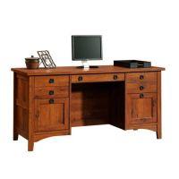 Mission Craftsman Style Computer Credenza Desk   Furniture ...