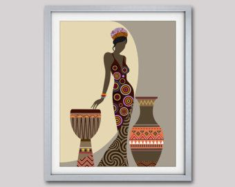 African wall decor woman artwork american art design also rh pinterest