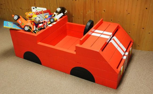 Unique Race Car Kids Toy Box Chest Storage Great