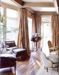 Euro-rustic room w/ billowing silk drapes; Eleanor ...