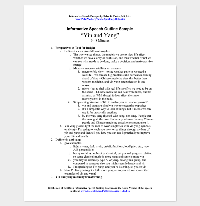 Informative Speech Outline Example Outline Templates