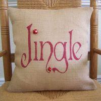 Jingle Pillow, Christmas pillow, burlap Pillow Cover