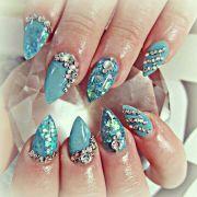 shiny blue acrylic nails and swarovski
