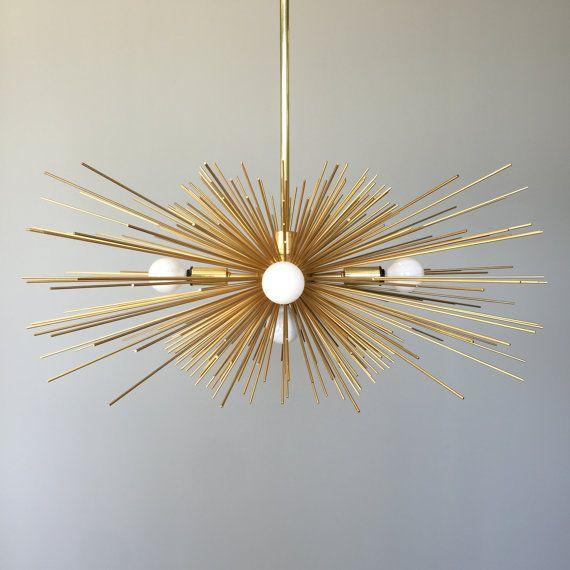 5 Bulb Gold Urchin Chandelier Lighting