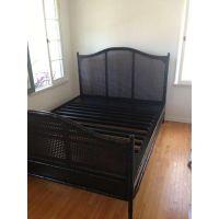 Dark Wood Sleigh Queen Bed Frame & Rattan Headboard ...