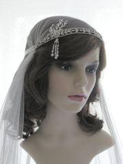 chantilly lace cap veil - 1920s
