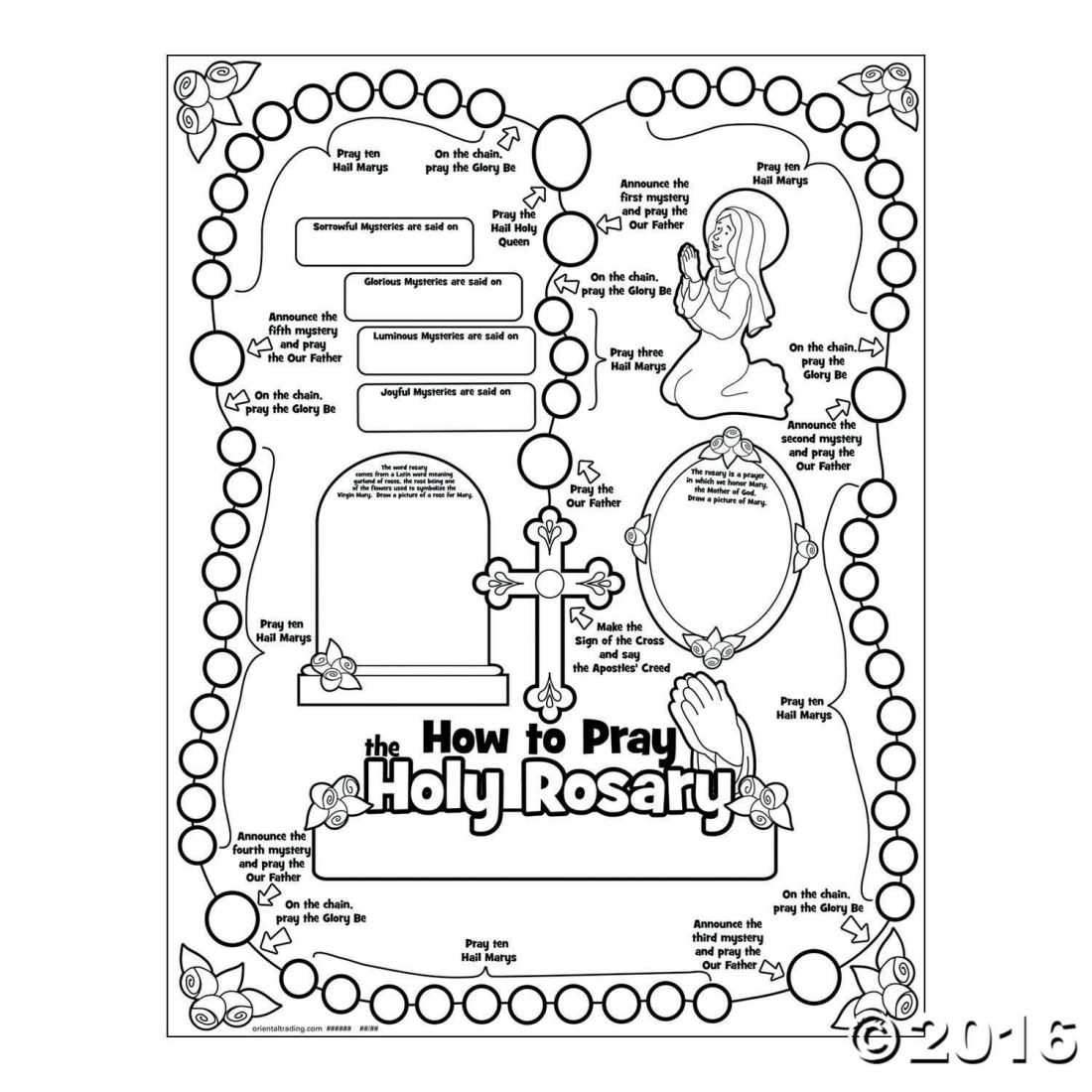 Color your own all about the rosary posters sunday