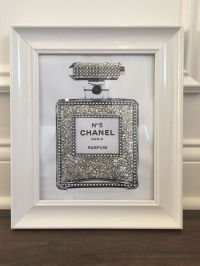 SILVER FRAMED CHANEL no 5 PERFUME BOTTLE SILVER GLITTER ...