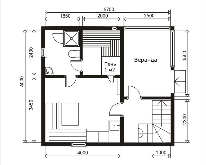 план 1 этаже дома бани 4х6+2,5 под двускатной крышей на