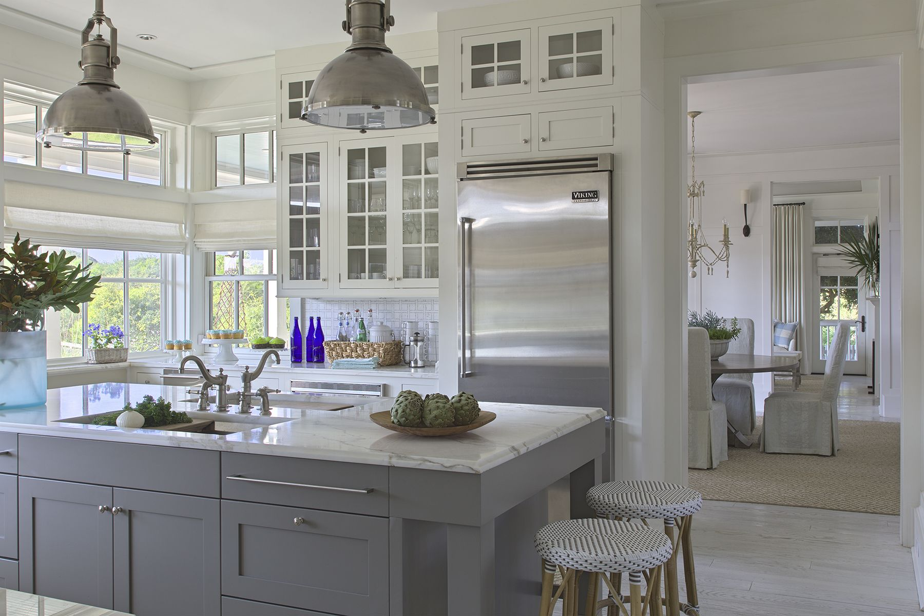 Gray Kitchen Cabinets White Marble Counters Open Bright