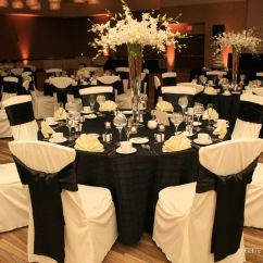Chair Covers At Wedding Reception Sled Base Black Tablecloths White And