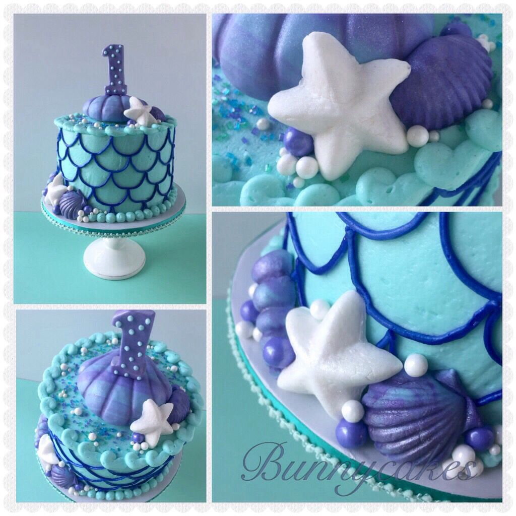 Mermaid Inspired Clam Shell 1st Birthday Smash Cake