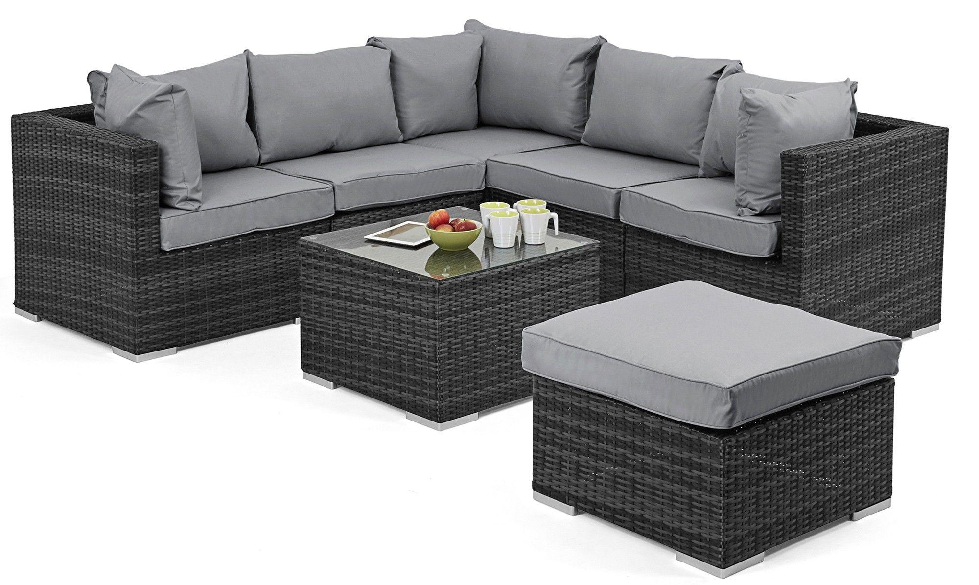 royalcraft cannes small black rattan corner sofa leather sofas cheap set 5 piece