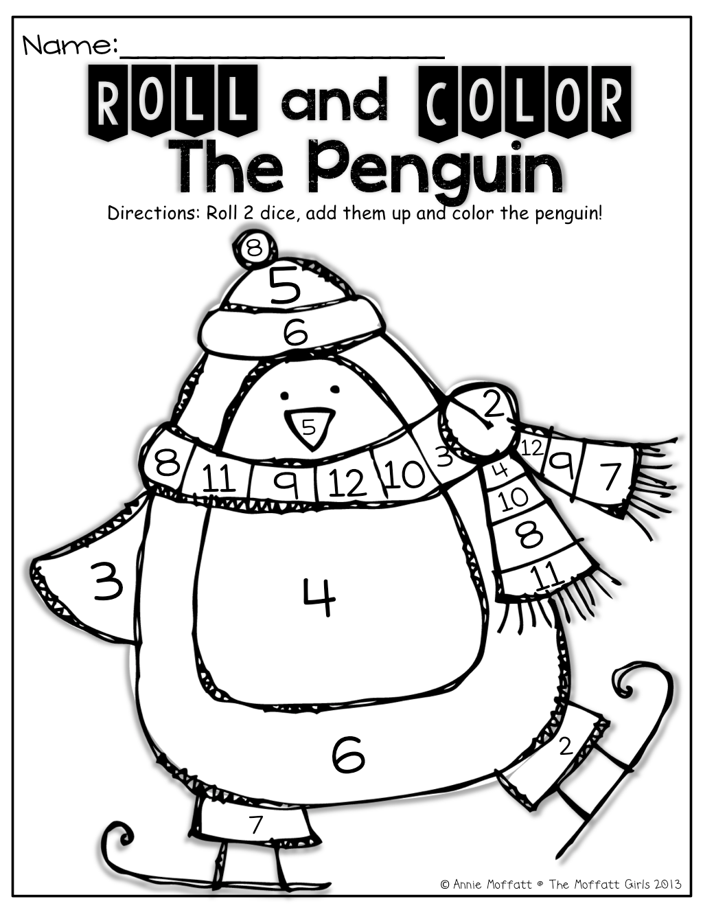 Roll 2 dice, add them up and color the penguin! Great