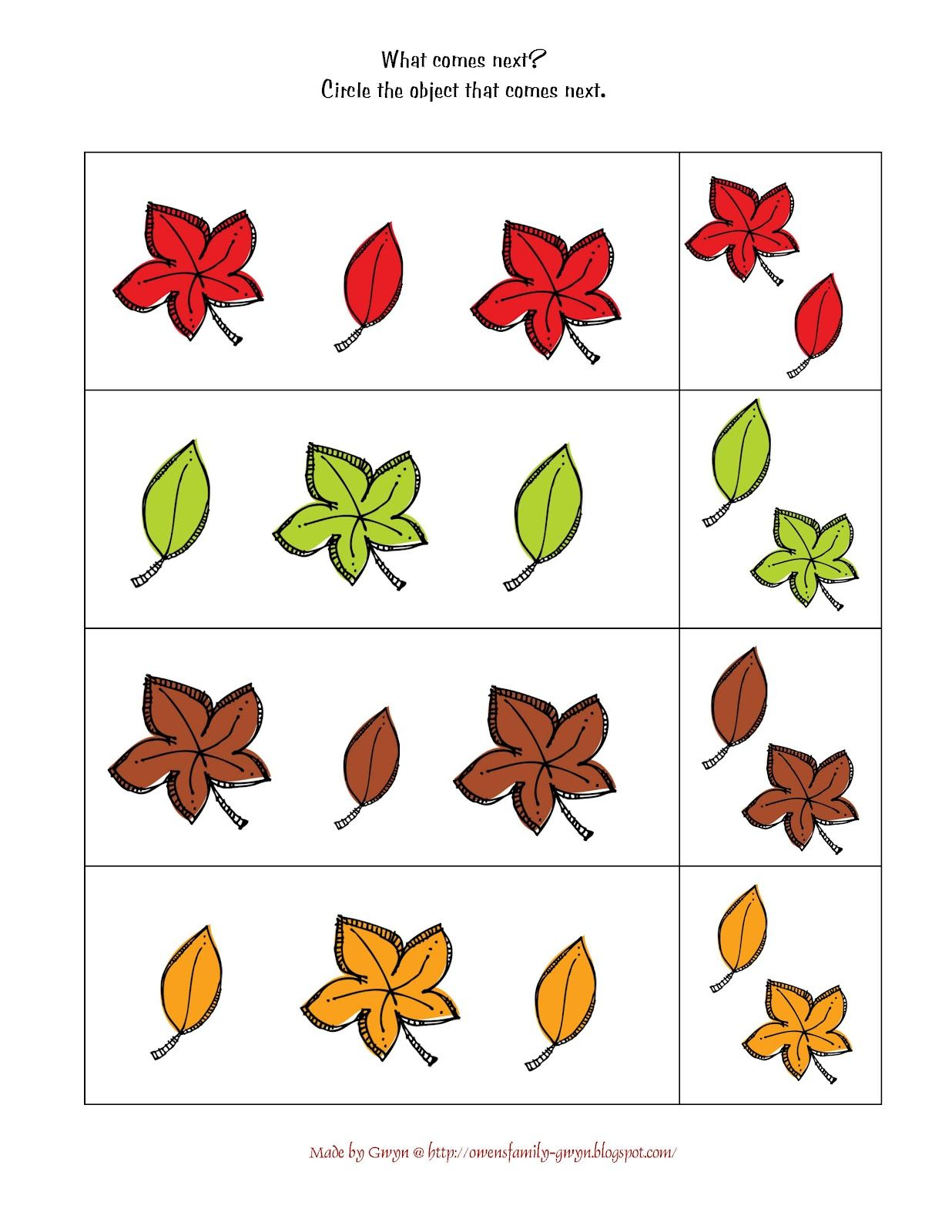 Preschool Printables Autumn