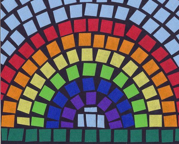 Art Projects Kids Mosaic Tape Rainbow Teaching