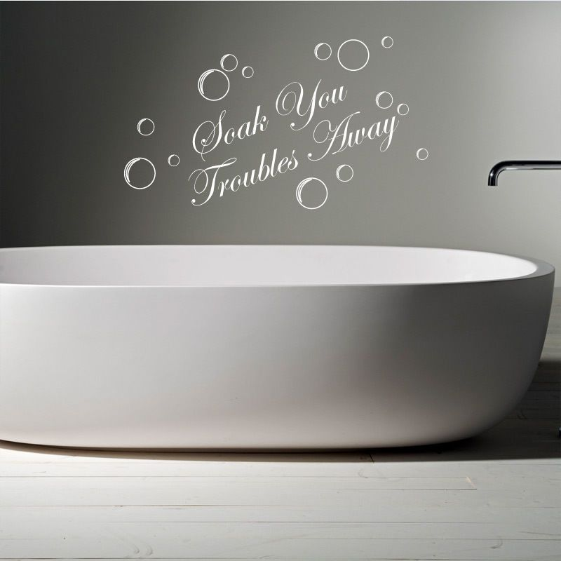 Troubles away bathroom words wall quotes sticker decal murals relax quote vinyl graphics home decor also soak your rh za pinterest