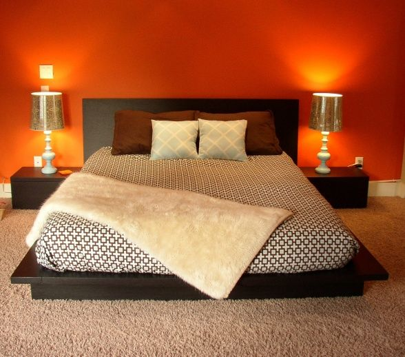 sunset orange for accent wall bedroom master bedroom orange accent wall Decorative Bedroom