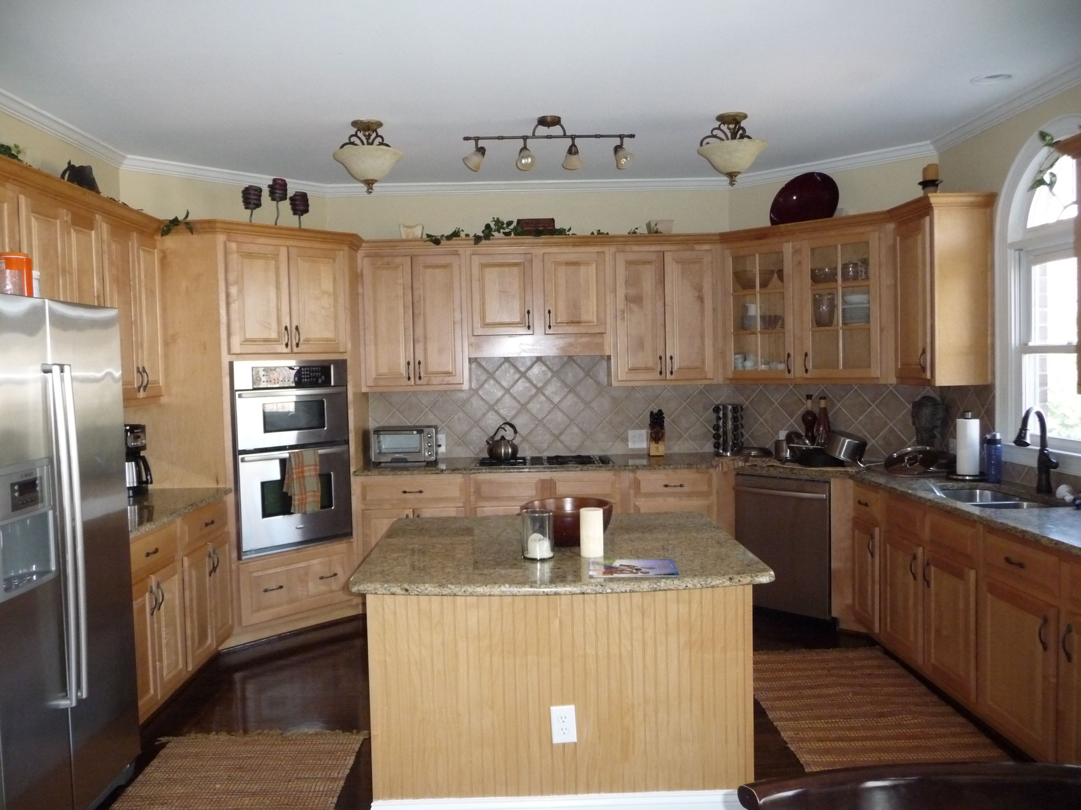 light maple kitchen cabinets standard sink size natural red oak floors were sanded and stained