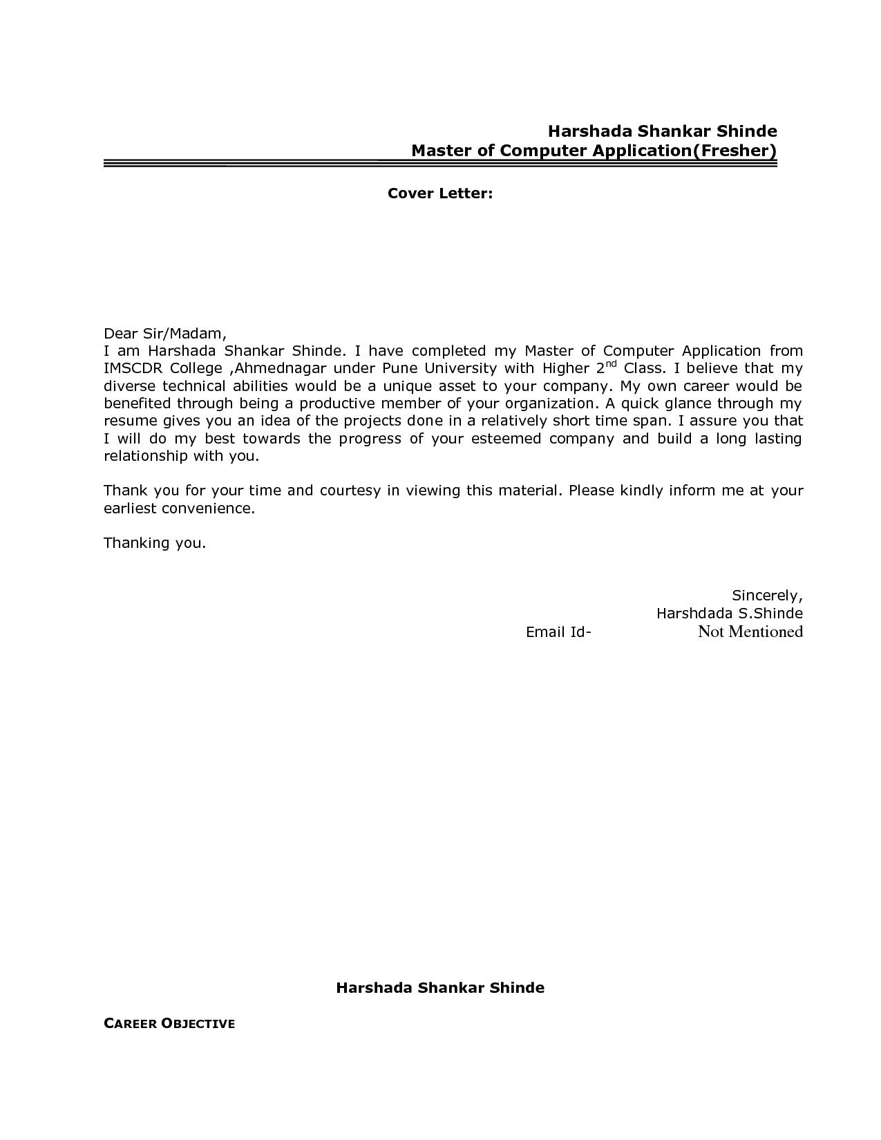 Resume Application Cover Letter