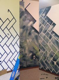 Abstract wall with herringbone bricks 1. Paint base 2 ...