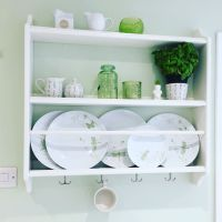 Stenstorp IKEA plate rack in a green and white kitchen ...